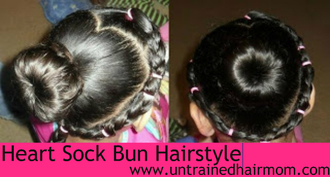 heart sock bun hairstyle