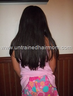 natural hair flat ironed for trim