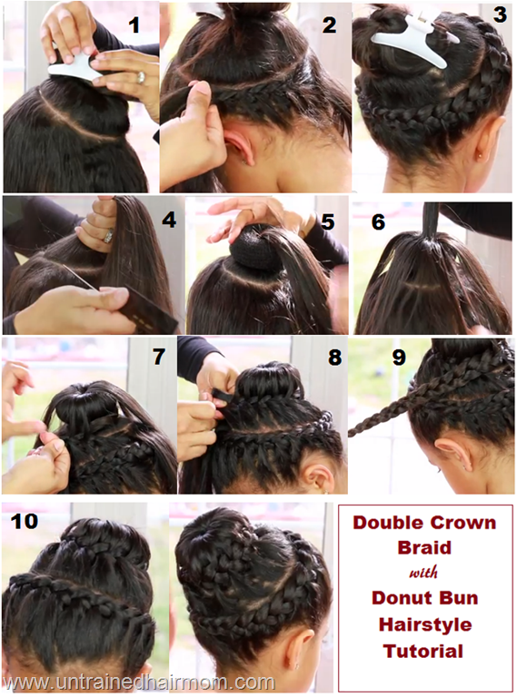 how to make ponytail of straight brazilian weave : Double Crown Braid with Donut Bun Tutorial Video: